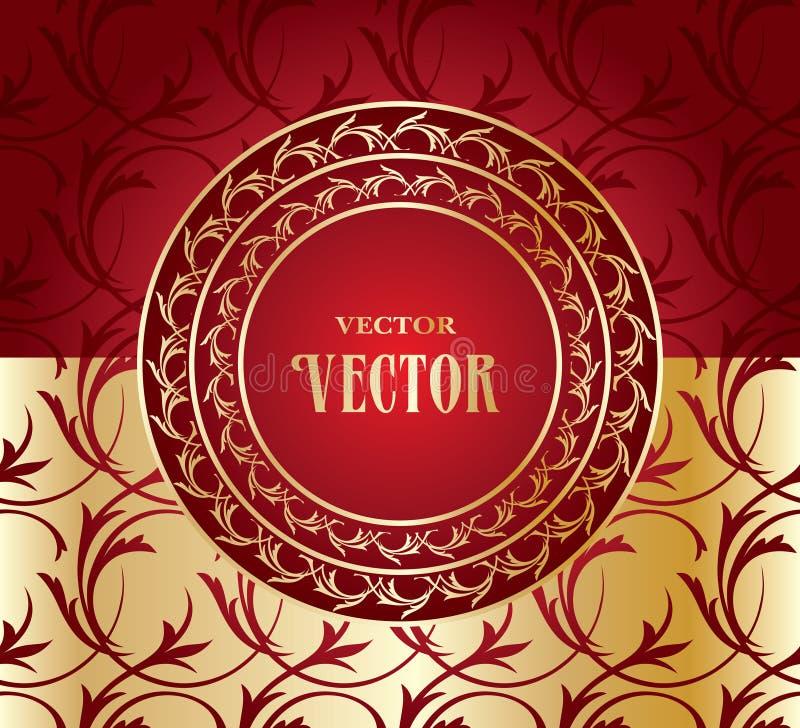 Röd sömlös bakgrund med den guld- prydnaden vektor illustrationer