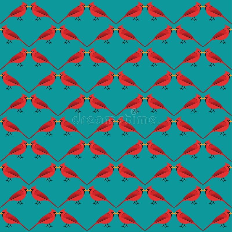 Röd sömlös fågelmodell för vinter stock illustrationer