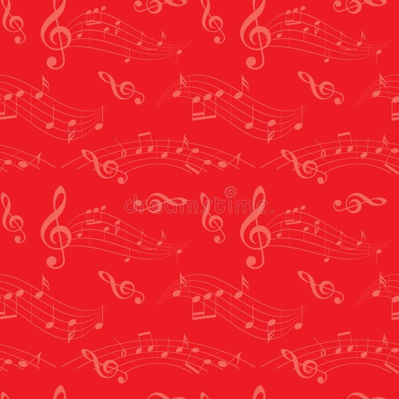 Röd sömlös modell med krabba musikanmärkningar - vektorbakgrund vektor illustrationer