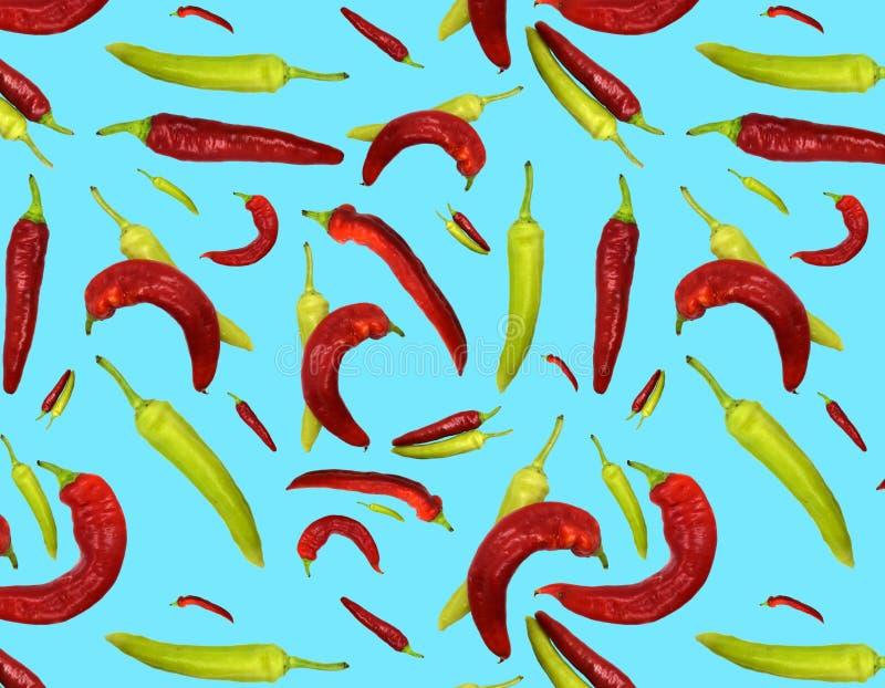 Röd sömlös modell och paprikor på blå bakgrund royaltyfri illustrationer