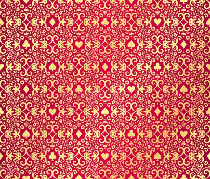 Röd sömlös pokerbakgrund med guld-, damast royaltyfri illustrationer