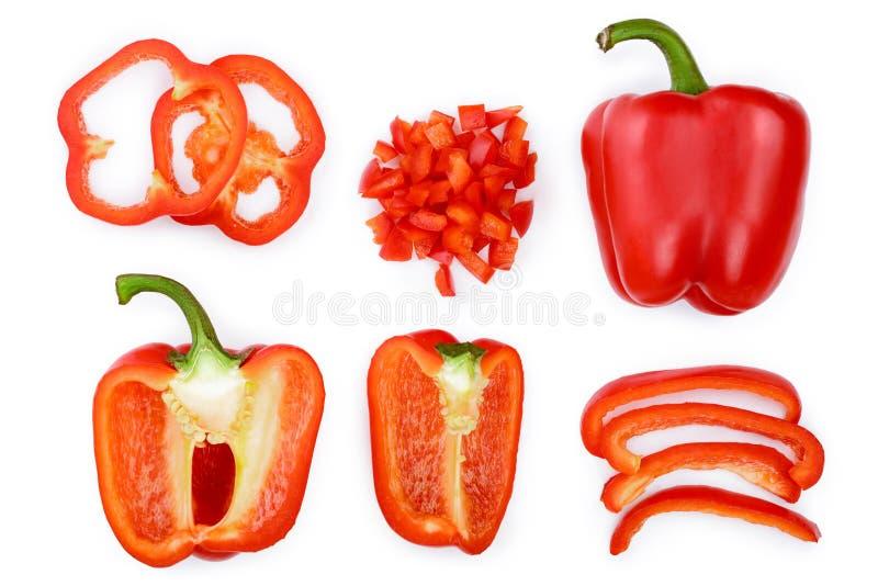 Röd söt spansk peppar som isoleras på vit bakgrund Top beskådar Lekmanna- lägenhet Uppsättning eller samling arkivfoton