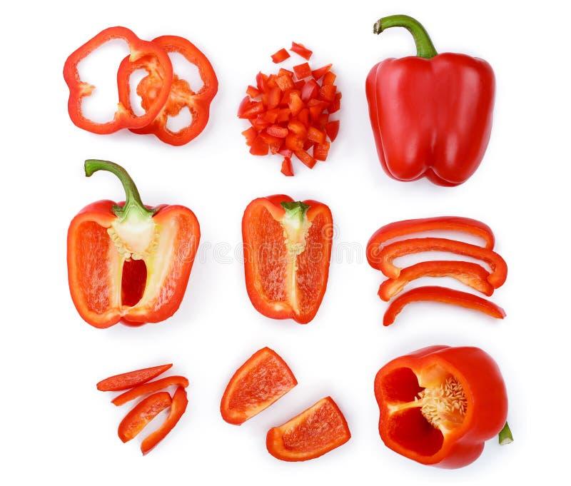 Röd söt spansk peppar som isoleras på vit bakgrund Top beskådar Lekmanna- lägenhet Uppsättning eller samling arkivbilder