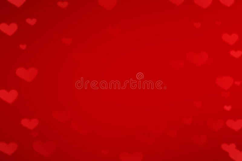 röd s valentin för bakgrundsdaghjärtor Abstrakt bokehkort, förälskelsebegrepp royaltyfri bild