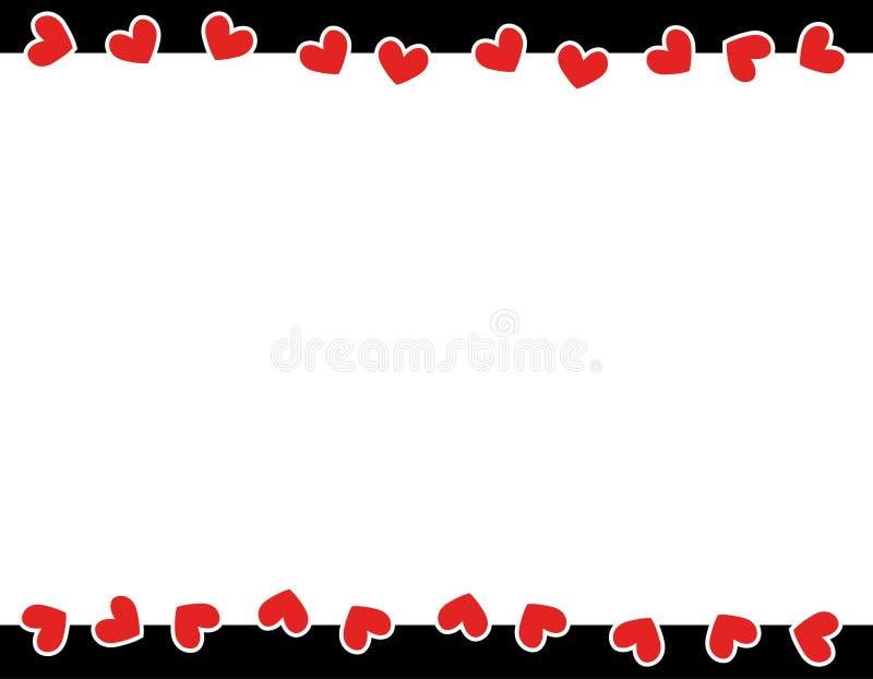 röd s valentin för kantdaghjärtor stock illustrationer