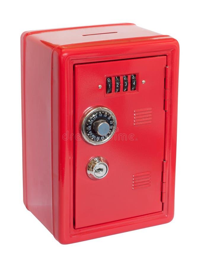 röd safe för moneybox arkivfoto