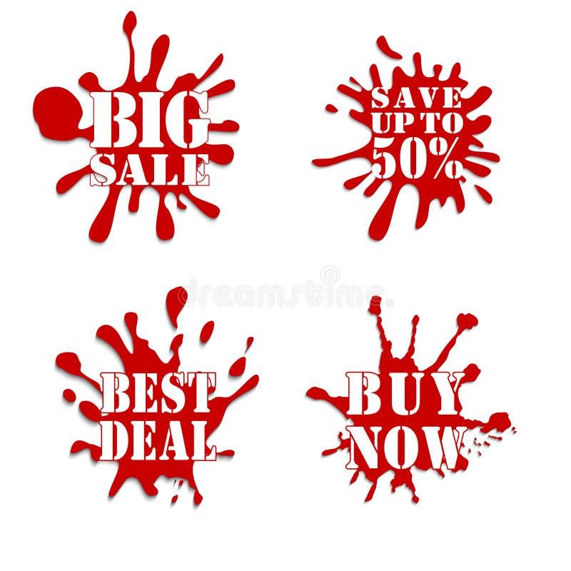 Röd Sale fläcksamling vektor illustrationer