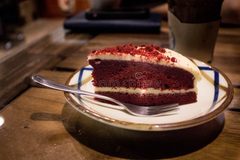 Röd sammet för kaka arkivfoto