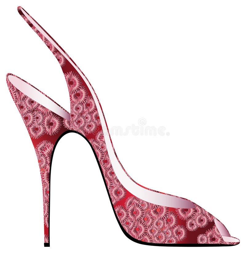 Röd sandal med appliqued blomningar vektor illustrationer