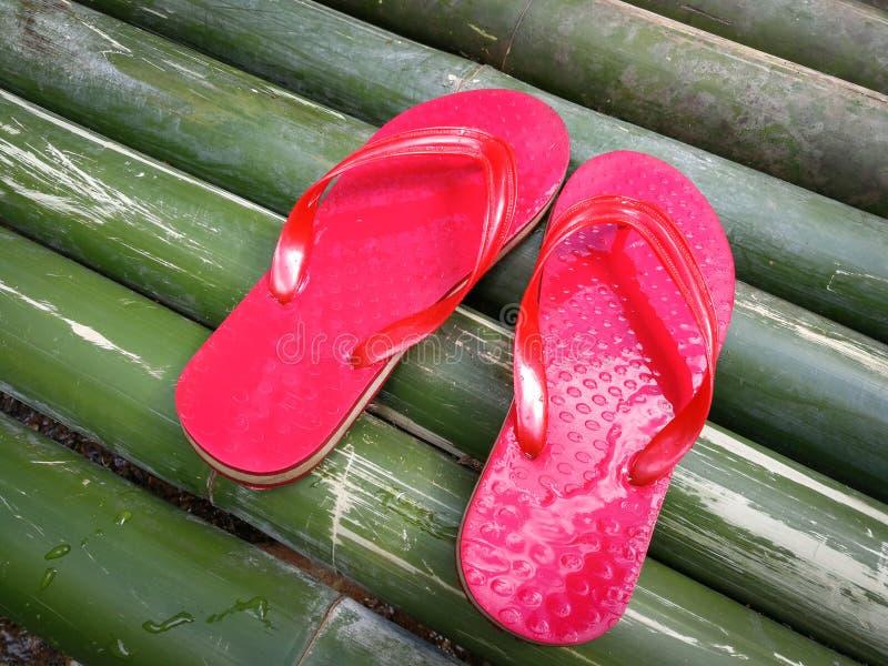 Röd sandal på bambu arkivbild
