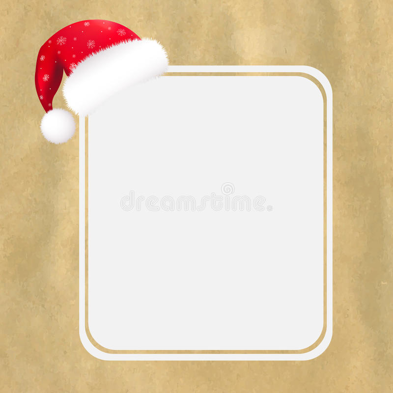 Röd Santa hatt med den blanka gåvaetiketten och gammalt papper stock illustrationer
