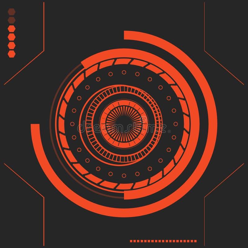 Röd Sci fi futuristisk användargränssnitt abstrakt sexhörningsmodell abstrakt bakgrundsvektor stock illustrationer