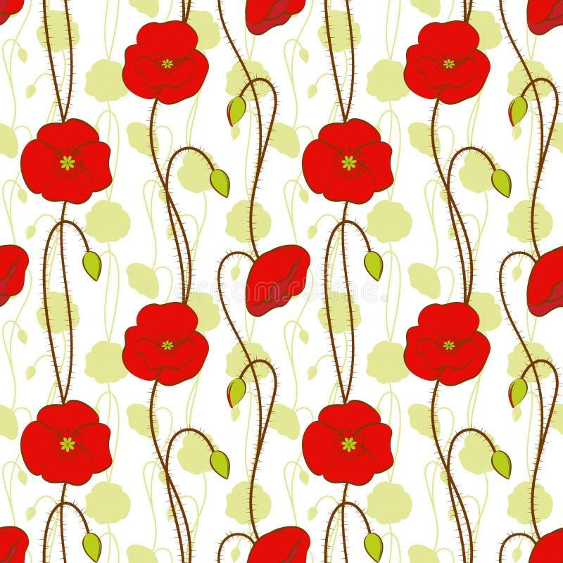 röd seamless springtime för blommamodellvallmo stock illustrationer