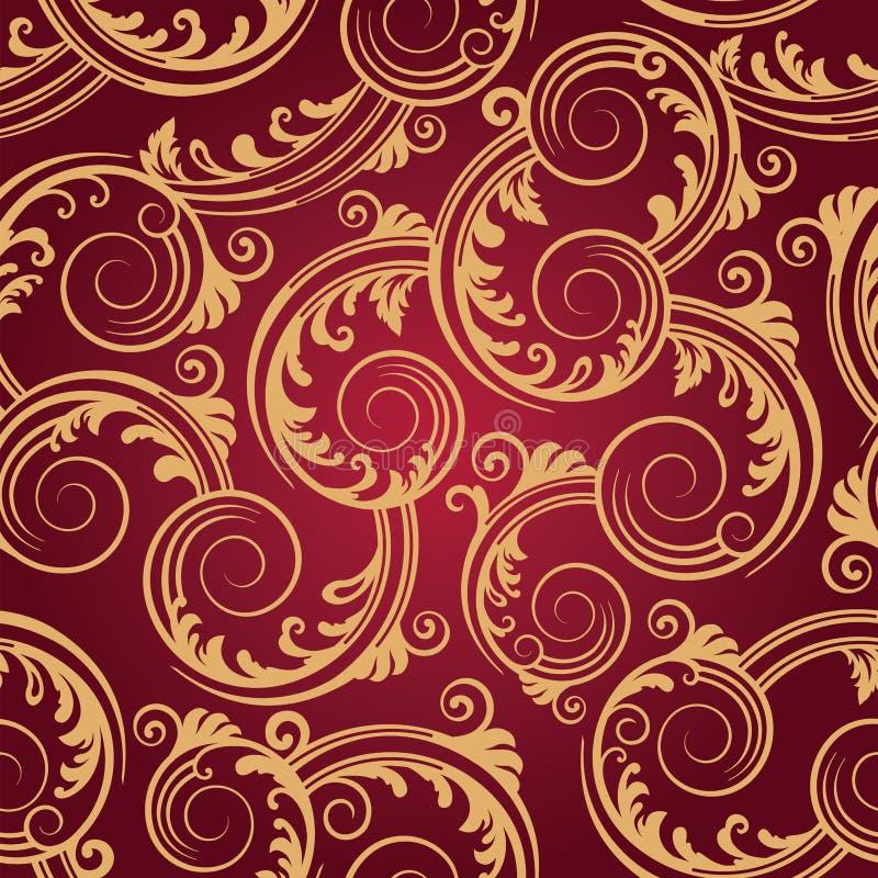 röd seamless swirlswallpaper för guld vektor illustrationer