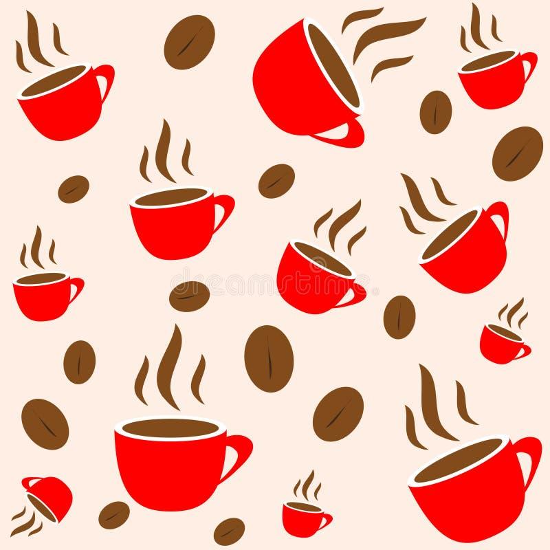 röd seamless wallpaper för bönakaffekopp vektor illustrationer