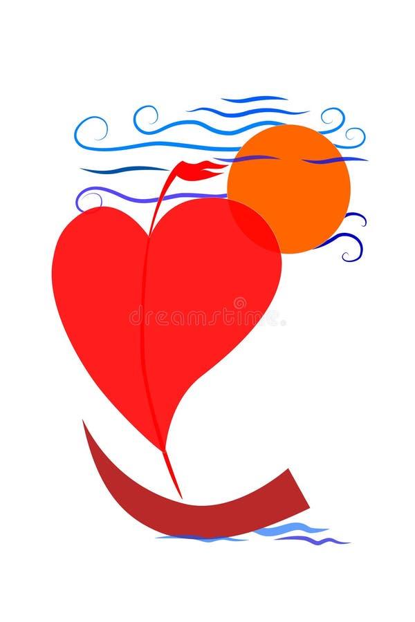 Röd segelbåt, som hjärtan seglar på havet på en vit bakgrund royaltyfri illustrationer