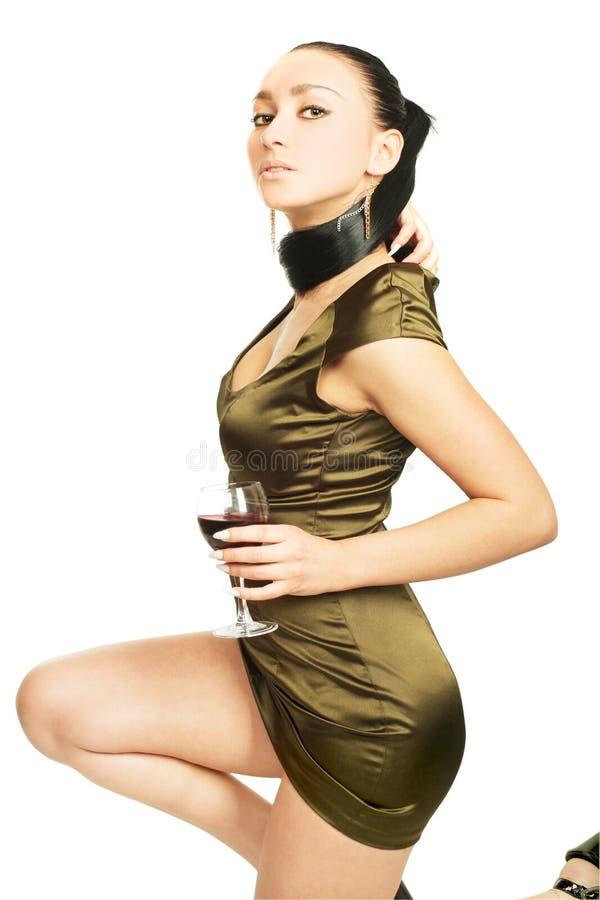 röd sexig wine för glass lady fotografering för bildbyråer