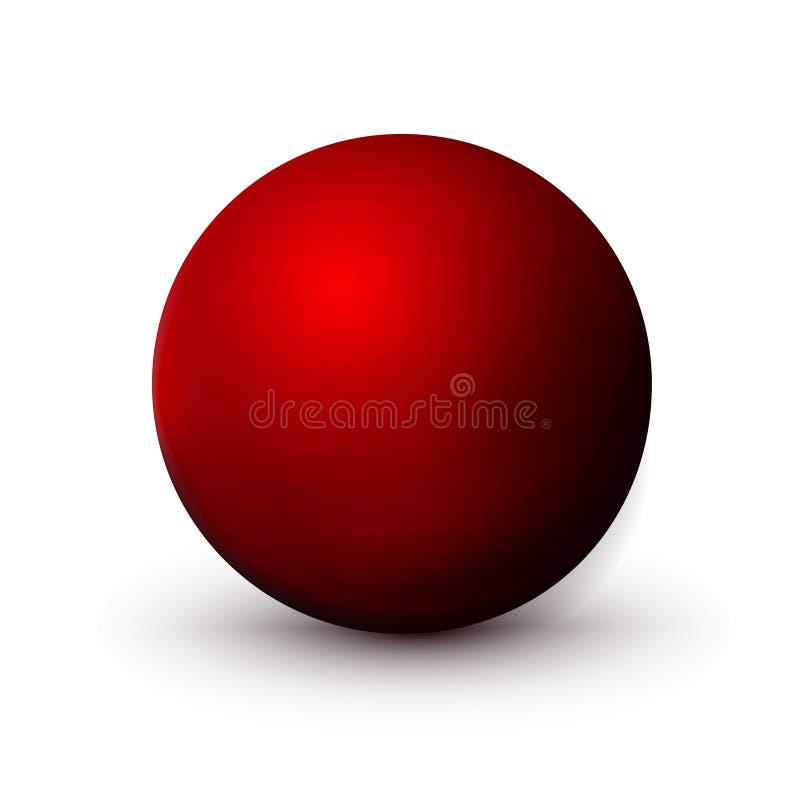 Röd sfär, boll Förlöjliga upp av ren runda det realistiska objektet, orbsymbol Rund form för designgarnering, geometriskt enkelt, royaltyfri illustrationer