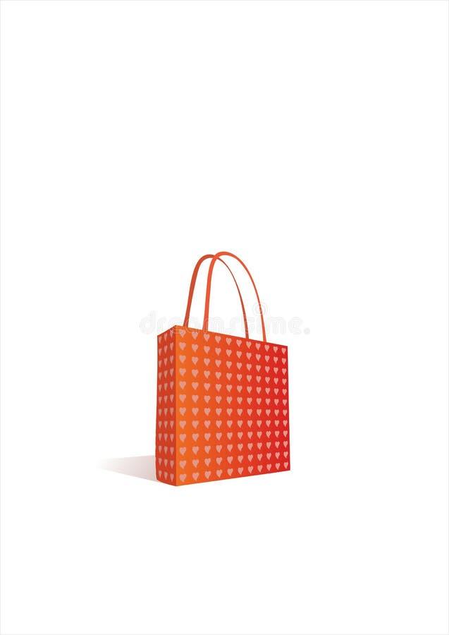 röd shopping för påse royaltyfri illustrationer