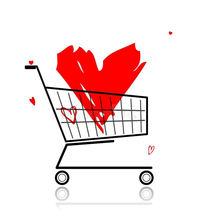 röd shopping för stor vagnshjärta vektor illustrationer