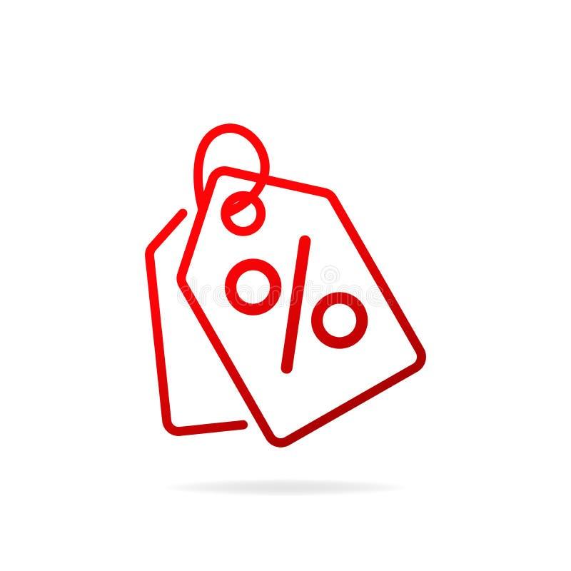 Röd shopping märker den enkla linjen symbol Tecken f?r specialt erbjudande royaltyfri illustrationer