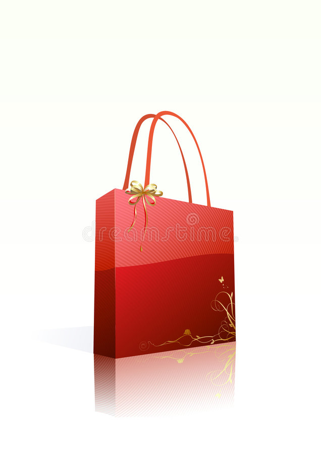 Röd shoppingpåse royaltyfri illustrationer