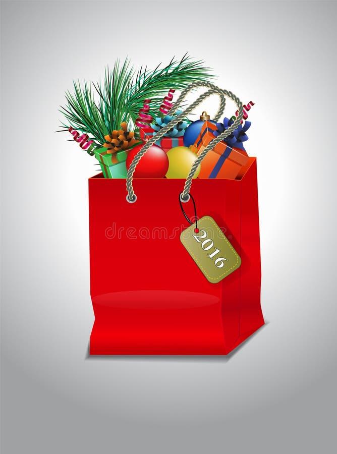 Röd shoppingpåse för jul fotografering för bildbyråer