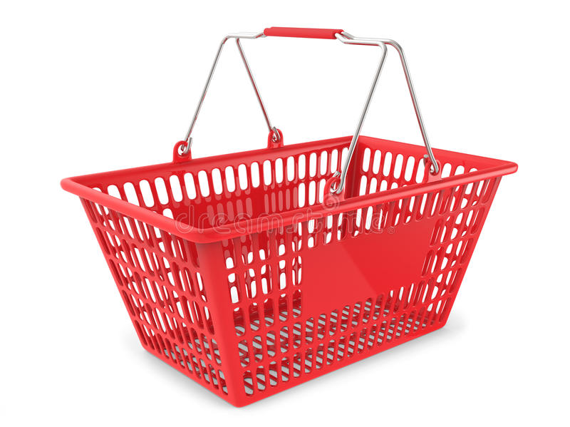 Röd shoppingvagn på vit bakgrund royaltyfria foton