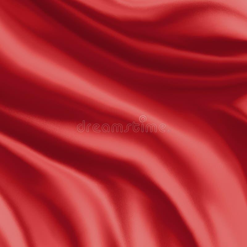 Röd siden- materiell bakgrundsillustration, veck eller draperad torkduk i kurvor stock illustrationer