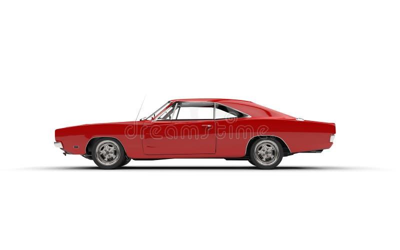 Röd sikt för sida för tappningmuskelbil arkivbild