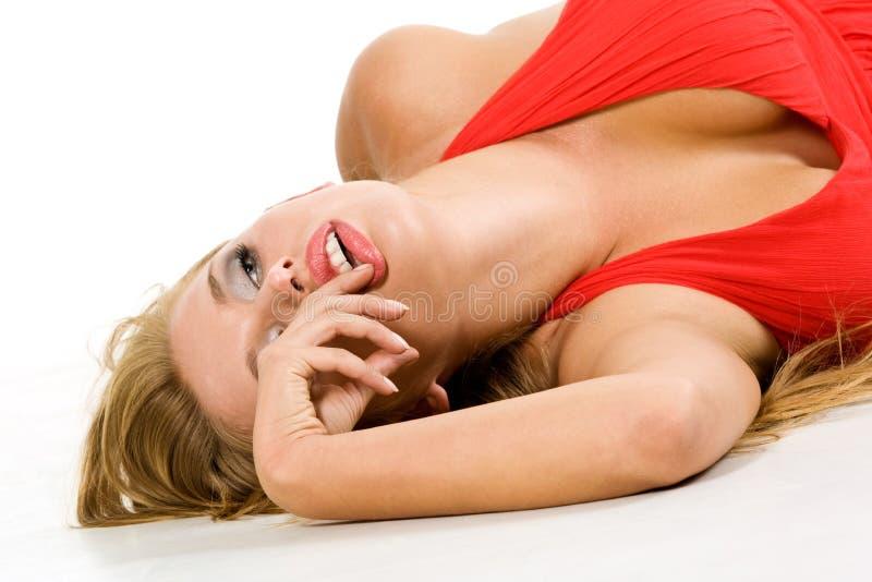 röd sinnlig kvinna arkivfoto
