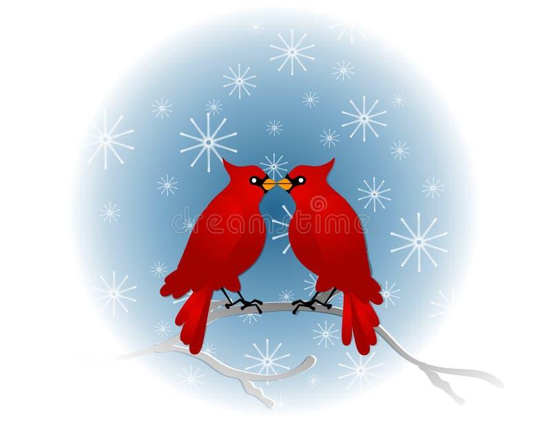 röd sittande tree för kardinaler stock illustrationer