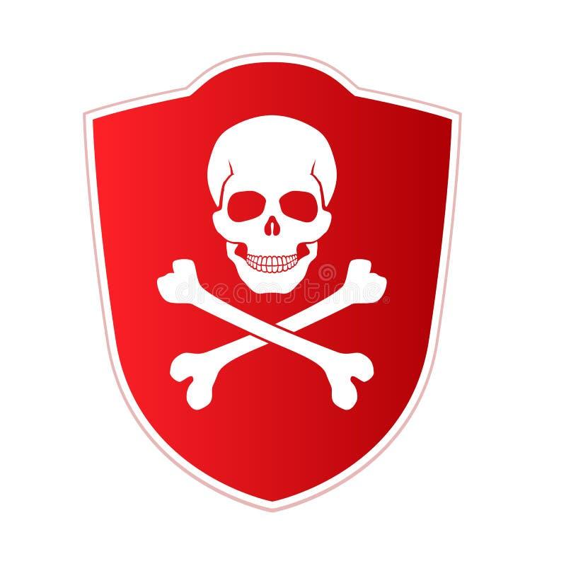 Röd sköld med emblemet av död och fara Skalle och korsade ben på röd bakgrund Vektorsymbol, illustration stock illustrationer
