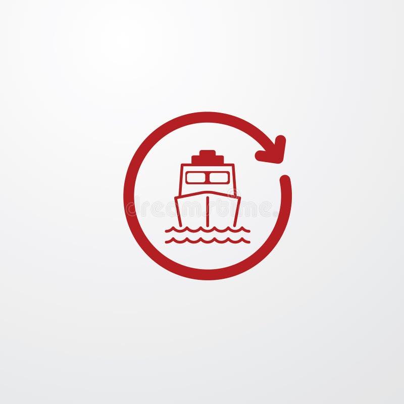 Röd skeppsymbol från främre sida i tidpilen, klocka royaltyfri illustrationer