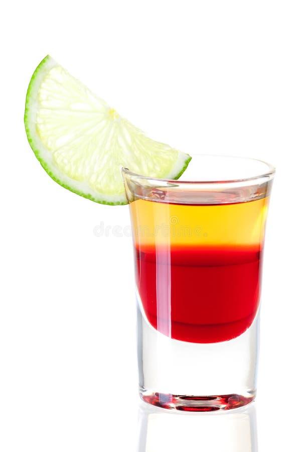 röd skjuten tequila för coctailsamling arkivbild
