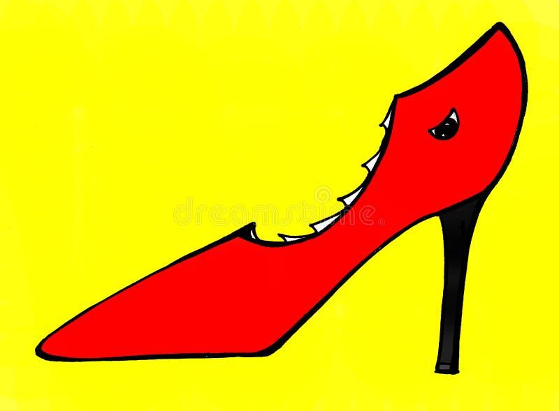 Röd sko med tänder royaltyfri illustrationer