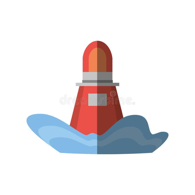 röd skugga för navigering för ljus för markörbojhav royaltyfri illustrationer