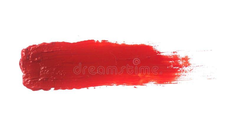 Röd slaglängd för akrylmålarfärg som isoleras på vit bakgrund arkivfoto