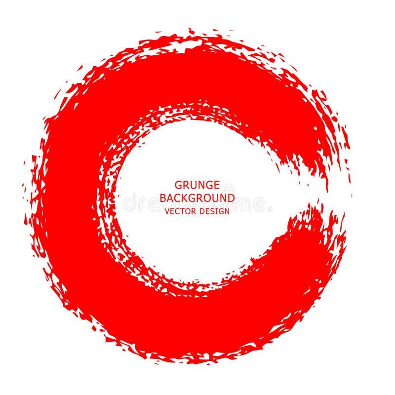 Röd slaglängd för färgpulverrundaborste på vit bakgrund Vektorillustrat royaltyfri illustrationer