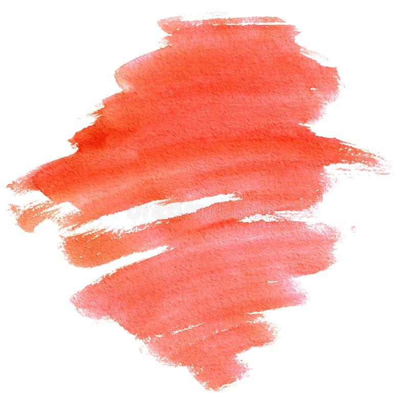 Röd slaglängd för vattenfärg med textur för borste` som s isoleras på vit bakgrund, hand-målad illustration stock illustrationer