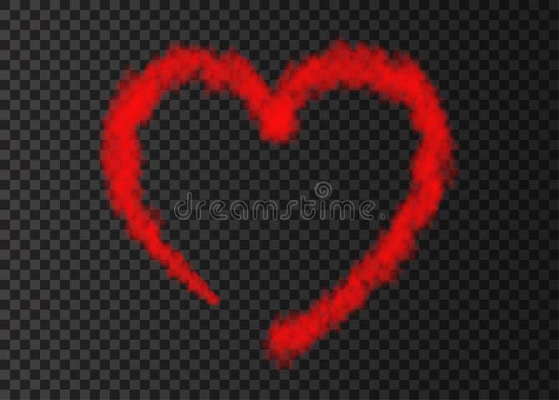 Röd slinga för röknivåhjärta som isoleras på genomskinlig bakgrund royaltyfri illustrationer