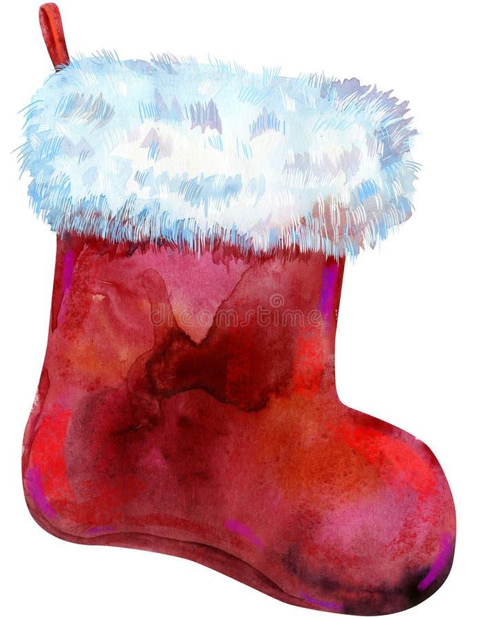 Röd socka för jul med vit päls för flygillustration för näbb dekorativ bild dess paper stycksvalavattenfärg isolerat vektor illustrationer