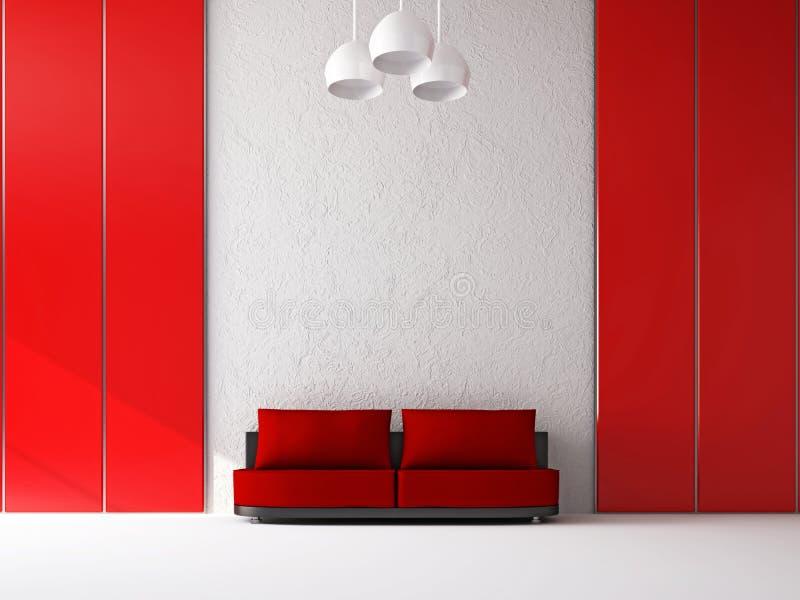 Röd sofa nära väggen stock illustrationer