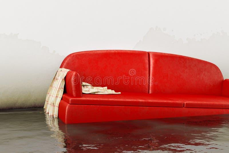 röd soffa för vattenskada royaltyfri illustrationer