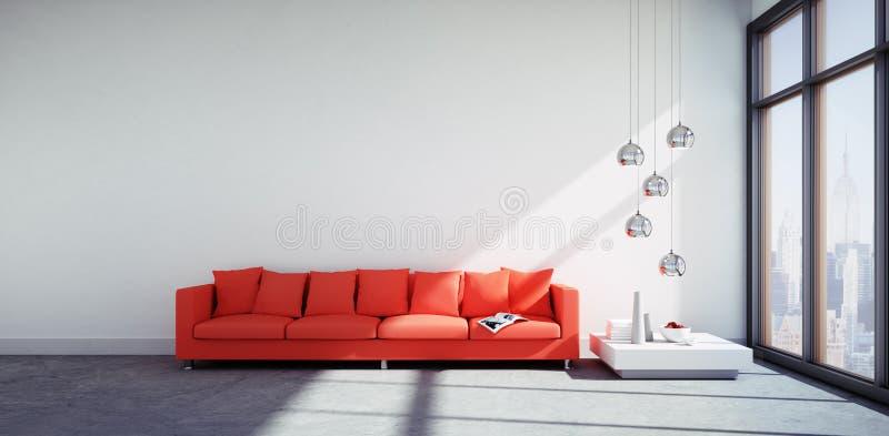Röd soffa i en modern vardagsrum stock illustrationer