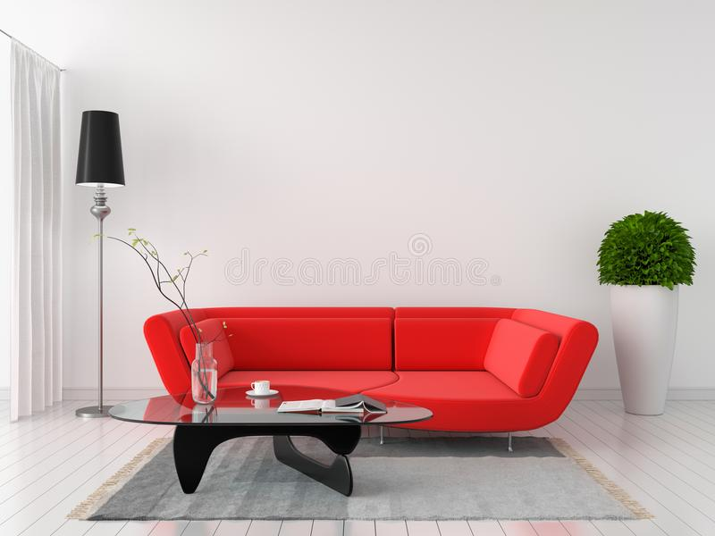 Röd soffa i inre för vitt rum, tolkning 3D royaltyfri fotografi