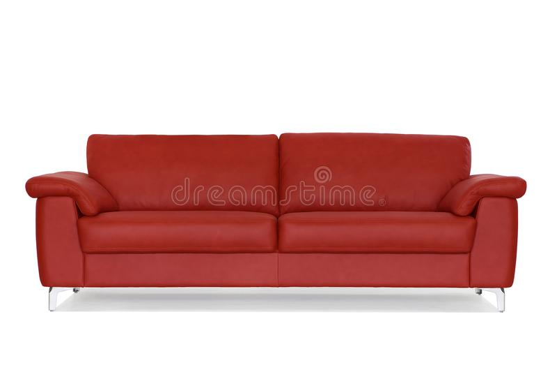 Röd soffa med metallben royaltyfri fotografi