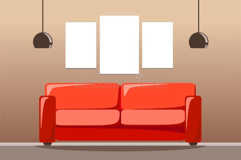 Röd soffa med två lampor och en uppsättning av utrymme för tre målningar Vektorillustration av en plan stil vektor illustrationer