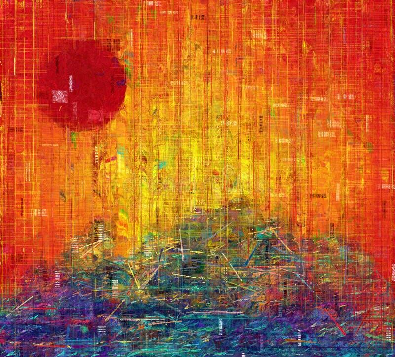röd solnedgång stock illustrationer