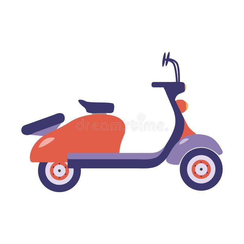 Röd sommarsparkcykelsymbol royaltyfri illustrationer